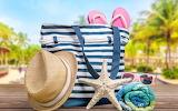 Summer-beach-starfish, sand, beach, accessories, bag, hat