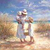 Jeune femme et ses enfants-plage-peinture