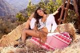 Girl, farm, hay, blanket, cowboy boots, nature, beauty