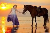 Girl, sunset, coast, horse, girl, sea, coast, dress, beauty