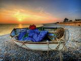 Boat, sea, sunset, house 2