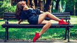 Red Shoes Park Bench