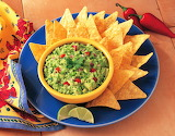 ^ Guacamole avocado dip and chips