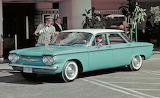 1960 Chevy Corvair at restaurant