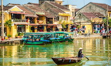 Vietnam, Hoi An, Traditional boats on Thu Bon river