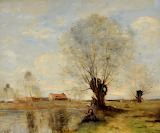 Women fishing by JB Camille Corot