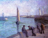 Fishermen in the Port by Maximilien Luce c.1920