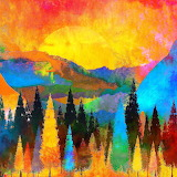 Colours-colorful-trees-mountains-sun-autumn-painting