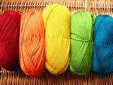 Colorful yarn on wicker