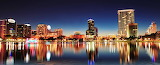 Panorama Night Time City Lights On Lake Florida USA