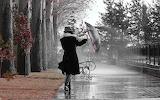 A woman in the rain