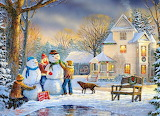 Christmas, snowman, children, cottage, winter, painting