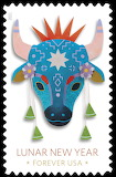 HAPPY NEW YEAR - 21 - YEAR OF THE OX - US POSTAL SERVICE ART