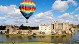 Castle, pond, hot air balloon