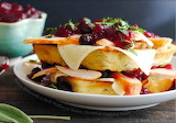 Waffles with turkey havarti cranberry sauce
