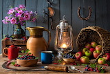 Apples Berry Bouquets Kerosene lamp Still-life 592107 1280x853