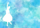 Ballet, silhouette on blue