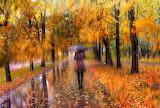 Rain, woman, umbrella, park, road, walk, trees, autumn, colorful