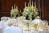 Wedding banquet table with flowers