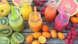 Colourful Smoothies and Fruit