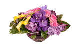 ^ Arrangement in pink, lavender, yellow