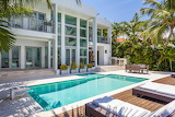 Luxury white villa and pool in Miami, Florida