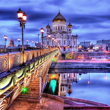 * Moscow Bridge and Cathedral of Christ The Saviour...