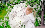 Girl, child, umbrella, tree, spring, beautiful