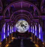 Artist Luke Jerram's Museum of the Moon in the Liverpool Cathedr