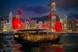 Chinese junk at Victoria Harbour-Hongkong