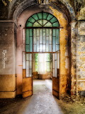 Beautiful arched green glass door