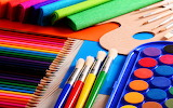 Pencils, brushes, paints