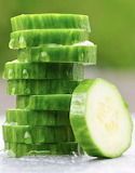 ^ Sliced cucumbers