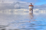 Lighthouse and Water Tower. Island of Langeoog, Lower Saxony.