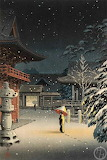 "Art tumblr enchantedbook """"Snow at Nezu Shrine (Woman in Snow)"""