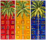 ^ Coconut Palms on Primary Colors on Squares ~ Maria Reyes-Jones