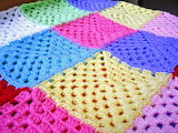 Big pastel granny squares crocheted