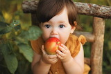 Young child eating an apple