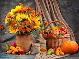 Bouquet , fruits et légumes d' automne