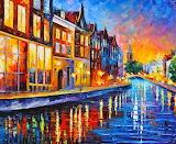 Canal in Amsterdam~ LeonidAfremov