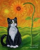 Cat-and-sunflower-veikko-suikkanen