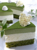 White chocolate matcha mousse cake