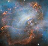 Moving heart of the crab nebula, ESA:NASA