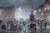 Piccadilly Circus at night 1911 by Thomas Prytherch