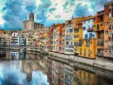 River-bridge-buildings-city-Girona-Spain