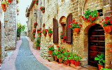 Floral street in Spello, Italy
