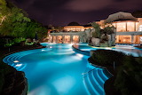 Luxury villa, pool and spa at night