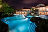Luxury villa, pool and spa at night