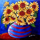 ^ Sunflowers in Blue and Red Stripes ~ Renie Britenbucher