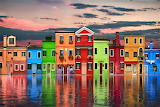 #Colorful Houses Reflecting in the Water